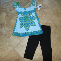 Girls Two-Piece Set Turquoise Top & Leggings Size Large 10/12-Nwt Photo
