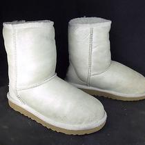 Girls Ugg Australia Silver Leather Ankle Insulated Shearling Winter Snow Boots 2 Photo