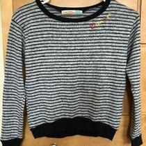 Girls Vintage Havana Grey Black Striped Sweater Size M Photo