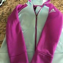 Girls Warm Up Jacket Adidas Size Medium 10/12 Blue With Pink Stripes & Logo Euc  Photo
