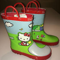 Girls Western Chief Hello Kitty Rubber Rain Boots Kid Size 13 Preowned Green Red Photo