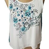 Girls Xl 16 Tank Top Sleeveless Floral Sequin Sheer Lined Blue White Guess Kids Photo