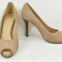 Giuseppe Zanotti Beige Python Snake Embossed Suede Leather Peep Toe Heels 37 7 E Photo