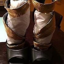 Giuseppe Zanotti Black Leather Gold Leaf Sandals sz39.5 Authentic Photo