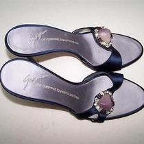 Giuseppe Zanotti Blue Satin Tanzanite / Amethyst Stone Accent Slides Heels 7.5m Photo
