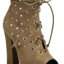 Giuseppe Zanotti Brown Alien 115 Gold Studded Peep Toe Lace Up Bootie 37.5 Photo