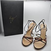 Giuseppe Zanotti Brown & Gold Metallic Leather Strappy High Heel Shoes Sz 9 Nib Photo