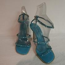 Giuseppe Zanotti Design Aqua Leather W/rhinestones Strappy Sandal Heels Sz 37.5  Photo