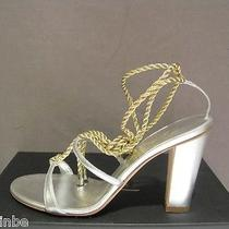 Giuseppe Zanotti Design Italy Event Wedding Silver Gold Sandals Shoes 8.5 38.5 Photo