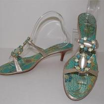 Giuseppe Zanotti Design Sz 40 / 9 Gold Aqua Turquoise Jewelled Slides Sandals Photo