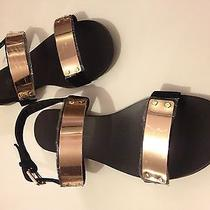 Giuseppe Zanotti Gold Plated Strap Size 10 Black Suede Sandals Photo