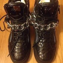 Giuseppe Zanotti Mens Alligator Embossed Leather Sneaker. Vnds 43.5/10.5 Black Photo