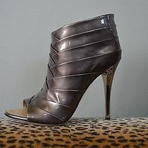 Giuseppe Zanotti Metallic Silver Patent Leather Heels Booties Sz 39 Us 9 Nib Nwt Photo