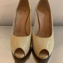 Giuseppe Zanotti Open Toe Patent Leather Pumps Nude Size 8.5 Photo