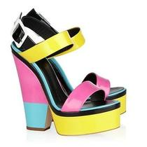 Giuseppe Zanotti Patent Leather Colorblock Wedge Sandals Size 39 Photo