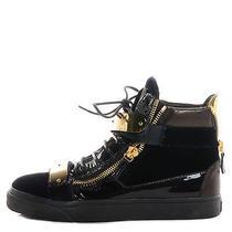 Giuseppe Zanotti Patent Velvet Coby High-Top Sneakers 40 Black Navy Ghw Photo
