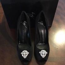 Giuseppe Zanotti Peep Toe Black Satin Pumps Shoes Jeweled Brooch Size 39 / 9 Photo