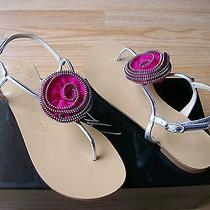 Giuseppe Zanotti Sandals Flower Rose Flat Slingbacks Thong Silver 38 Us 8 Nib Photo