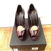 Giuseppe Zanotti Sharon Bordeaux Color-Block Patent Leather Pumps Size 38 Photo