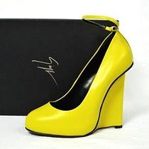 Giuseppe Zanotti Shoes Hidden Platform Heels Wedges Yellow Leather 37.5 7.5 Photo
