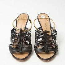 Giuseppe Zanotti Sz 38 Dark Brown Leather Caged Sandal With Gold Ankle Bracelet Photo