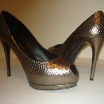 Giuseppe Zanotti Sz 9 1/2m Gold Metallic Platform Peep Toe Pumps (Wow Pristine) Photo