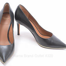 Givenchy 6.5 36.5 Black Leather Lacquer Inset Point Pump Heel Shoe Italy Ihf858 Photo