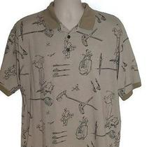 Givenchy Activewear Tan/beige Sketched Golf Club Pattern Polo Shirt Mens Size Xl Photo