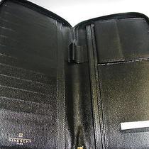 Givenchy Black Leather Folder Bifold Zipper Around Card Holder Wallet Clutch Photo
