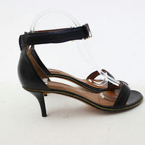 Givenchy Black Leather Open Toe Zipper Trim Sandal Heels - Size 37.5 Photo