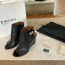 Givenchy Black Peep Toe Shark Lock Booties Photo