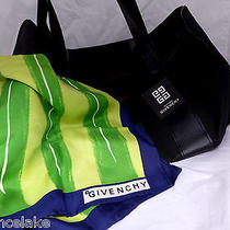 Givenchy Blue Green Yellow Geometric Abstract Silk Scarf and Black Tote Bag  Photo