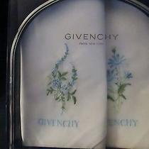 Givenchy Boxed Set 2 Vintage Ladies White/blue Embroidered Flower Handkerchiefs  Photo
