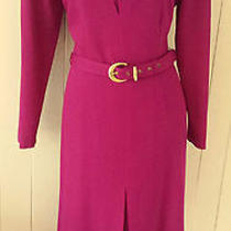 Givenchy en Plus Wool Rich Dress With Gold Buckle Belt and Buttons 12 40 New Photo