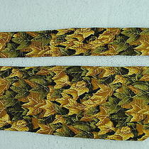 Givenchy Green Tan Beige Floral Leaf Shape Bright Colorful Mens Silk Neck Tie Photo