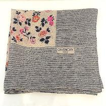 Givenchy 'Jewel Case' Orange and Pink Floral Print Navy Striped Silk Scarf  Photo