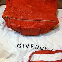 Givenchy Large Pandora Orange Textured Lambskin Leather Cross Body Bag Like New Photo