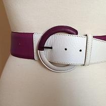 Givenchy Life Fuchsia Purple & White Wide Leather Vintage Belt 20383 Photo