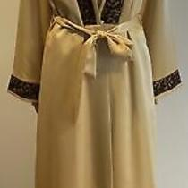 Givenchy Lingerie De Nuit Gold Satin Nightgown and Robe W/ Brown Lace Trim Sz 40 Photo