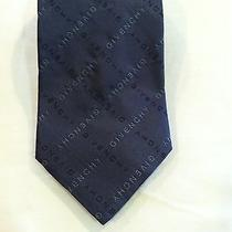 Givenchy Logo Name Blue Silk Necktie Neck Tie  Photo