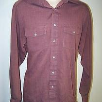 Givenchy Monsier Burgundy Button Front Shirt - Striped - Light Weight - Mens L  Photo