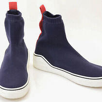 Givenchy Navy Red 8 41 Knit Pull on High Top Sock Trainer Sneaker Shoe 725 Photo