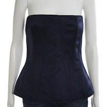 Givenchy Navy Silk Corset Top Sz 42 Photo