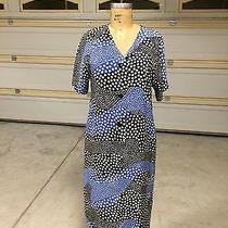 Givenchy Nouvelle Boutique Vintage Blue Black & White Polka Dot Print Dress - L Photo