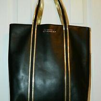Givenchy Parfums Tote Bag Travel Purse Handbag Black Faux Leather Black Gold Photo