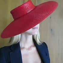 Givenchy Paris Vintage 1970's Glossy Lipstick Red Woven Wide Brimmed Hat  Photo
