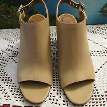 Givenchy Paris Womens Leather Block Heel Open Toe Open Back Booties Tan size36.5 Photo