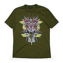 Givenchy Satin Embroidered Birds of Paradise Robot Tee - Green Size Xl Photo