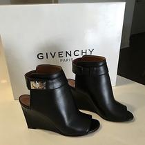 Givenchy Shark Tooth Ankle-Strap Wedge Sandals Black Sz 37 1580 Photo