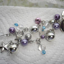 Givenchy Silver Tone Star Purple Blue Beads Chain Bag Charm Key Ring Photo